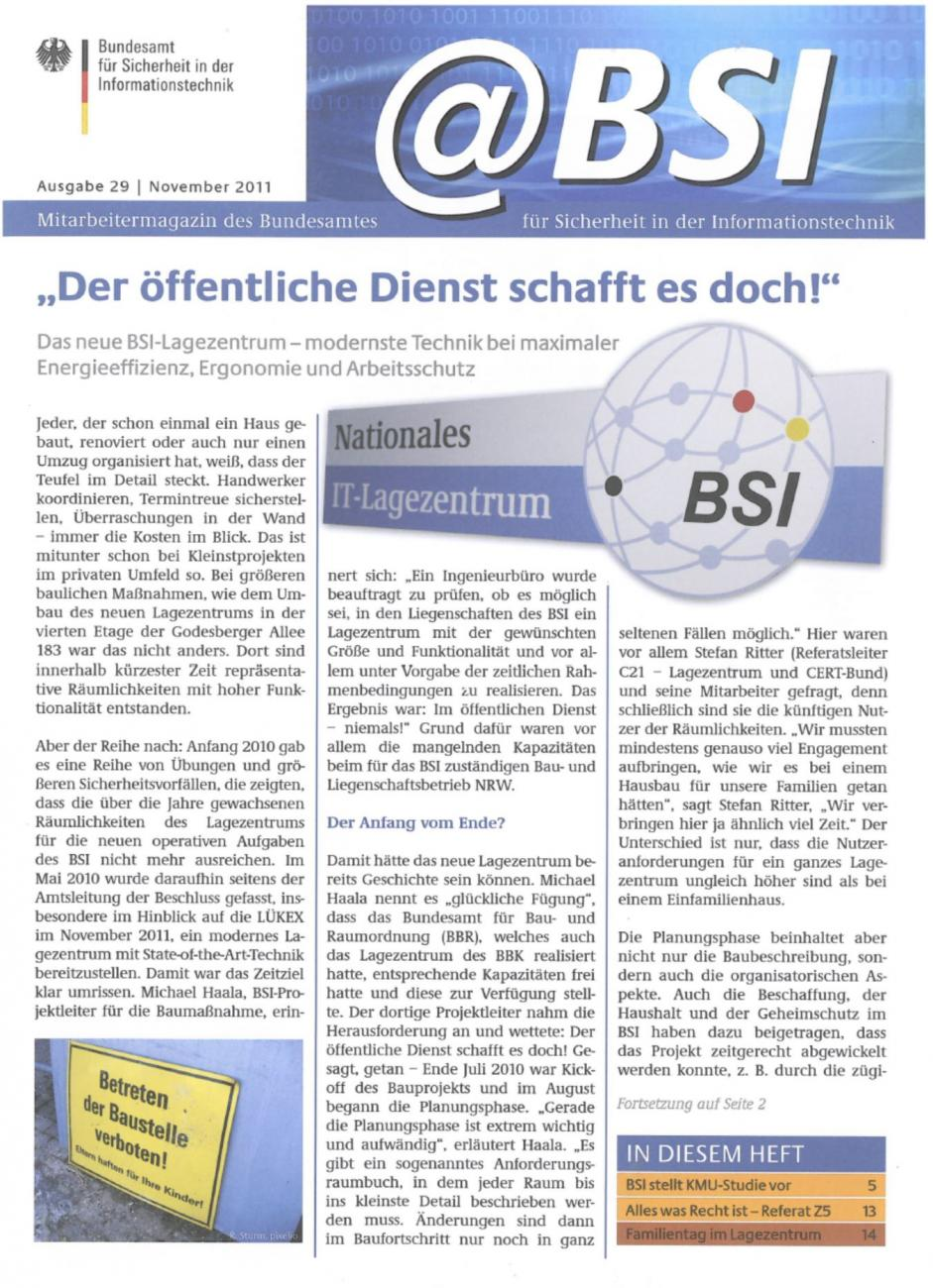 newspaper article @BSI November 2011