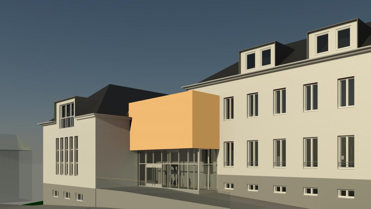 drawing, reconstruction and extension, Dorper Straße youth centre, Solingen